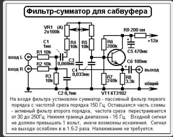 Схема усилителя на сабвуфер В